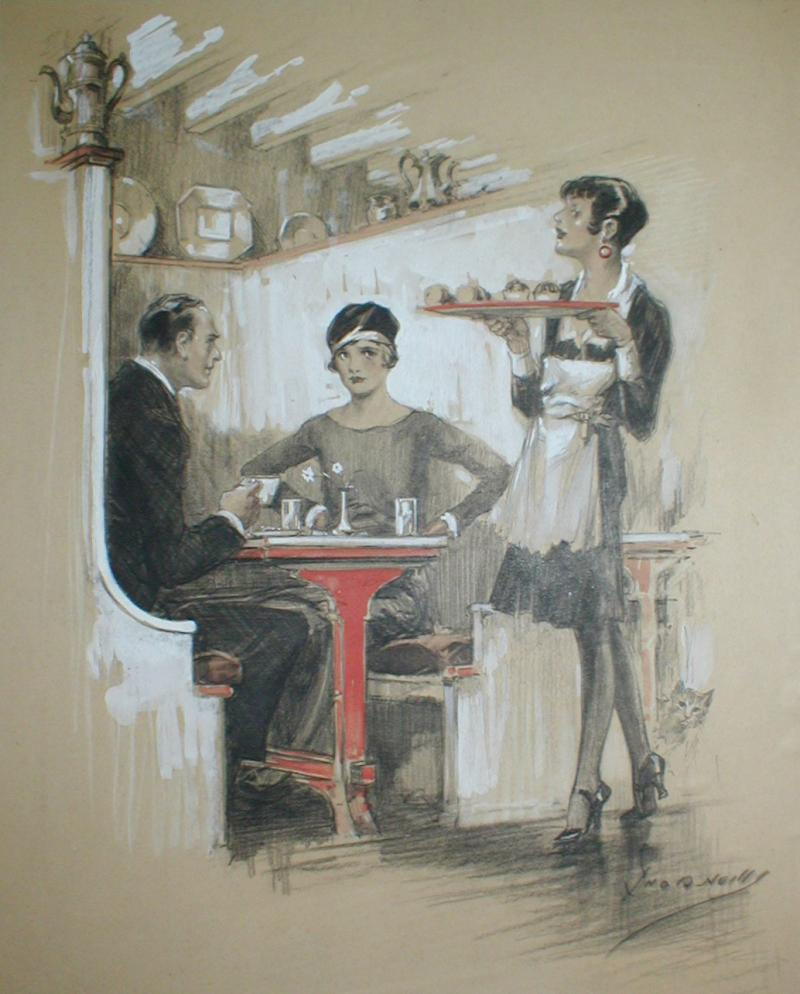 58 Flirting waitress, mixed media, signed, $2000